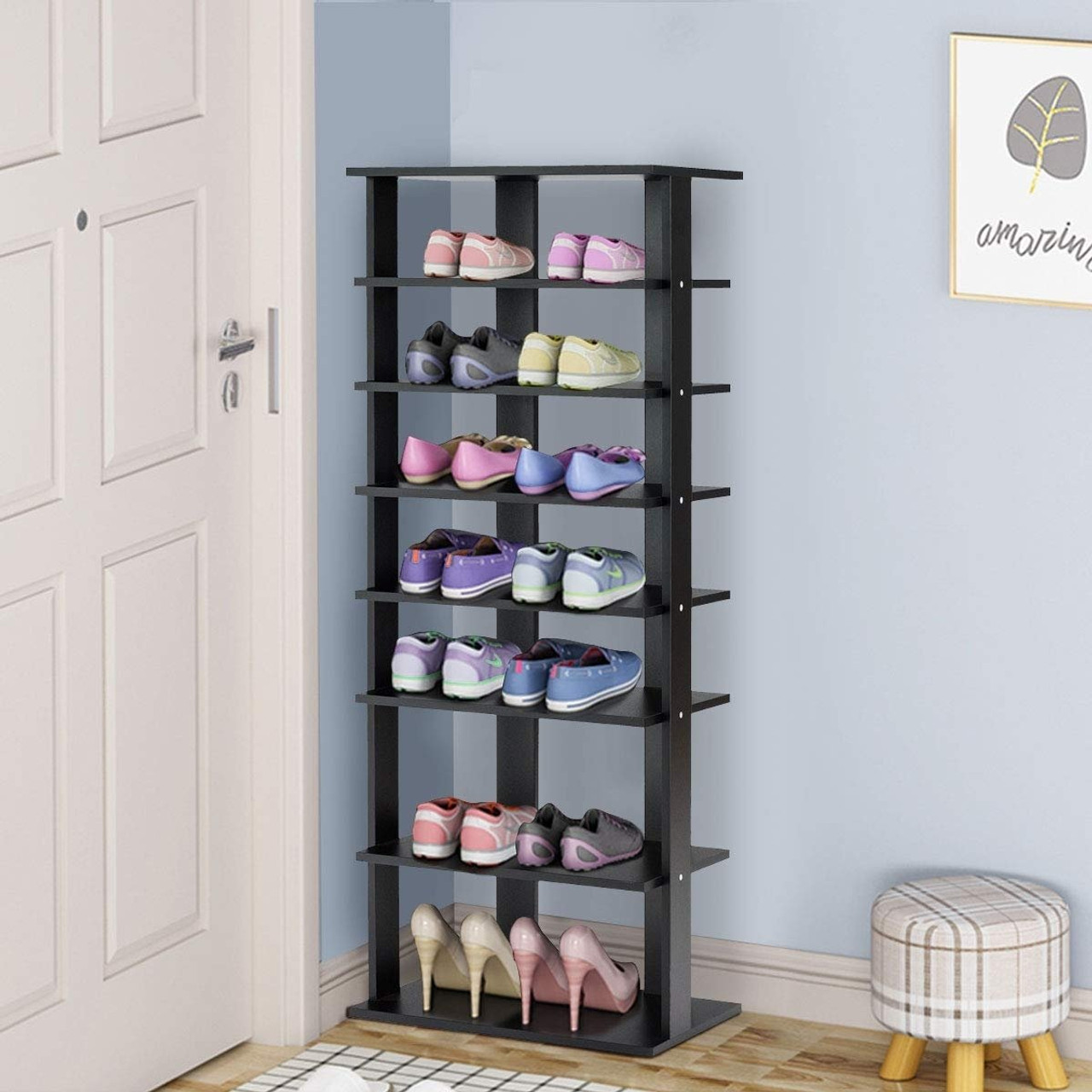 7 Tier Dual Shoe Rack Free Standing Shelves Storage Shelves Concise Black Hw57381bk By Cw
