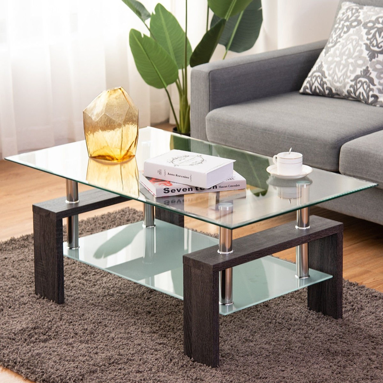 Picture of: Rectangular Tempered Glass Coffee Table With Shelf Brown Hw57279bn By Cw