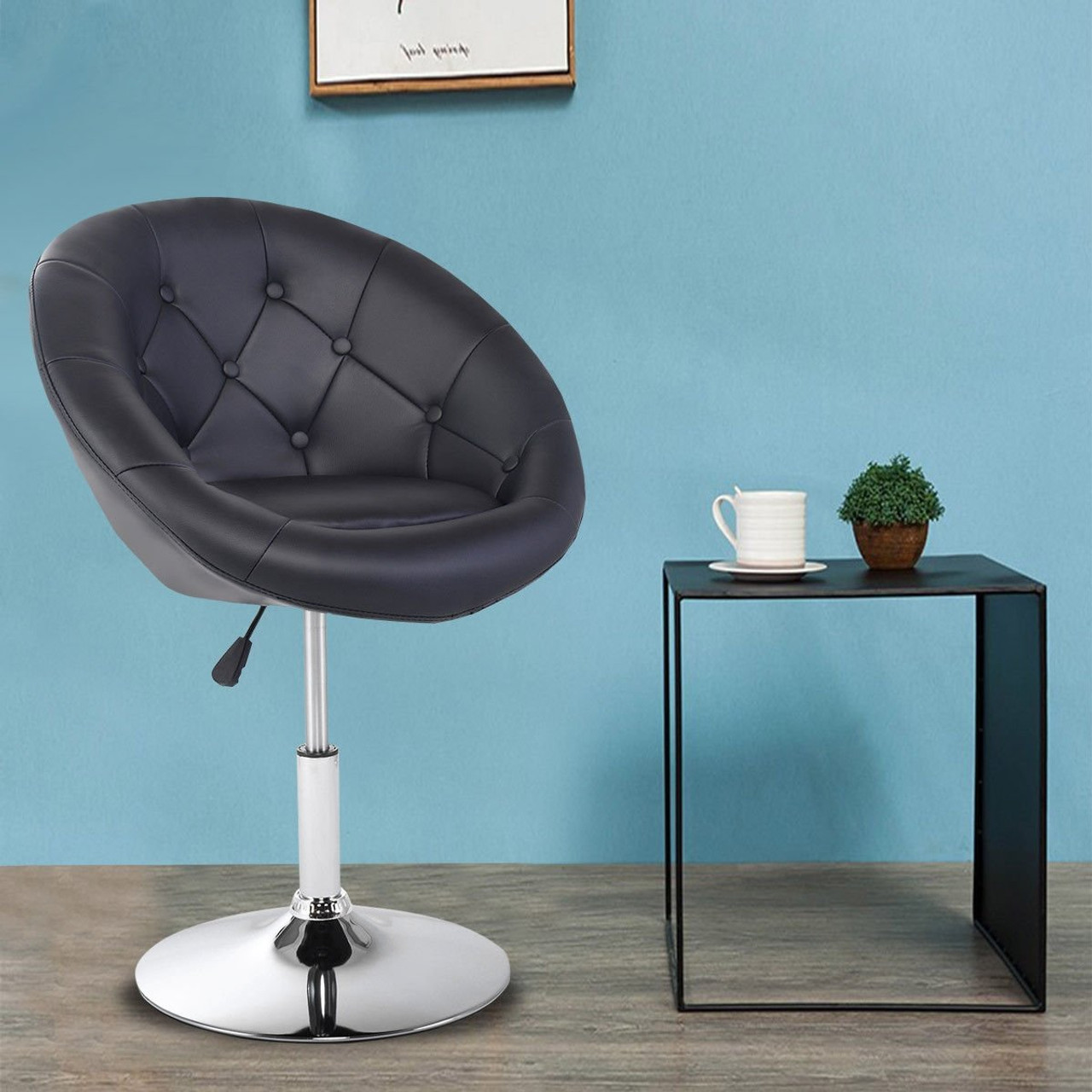1pc Adjustable Modern Swivel Round Tufted Back Accent Chair Pu Leather Black Hw52961bk By Cw