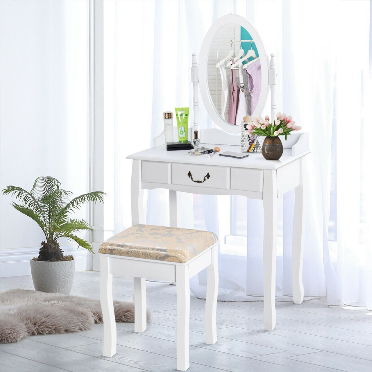 White Vanity Makeup Dressing Table With Rotating Mirror Hw50200 By Cw