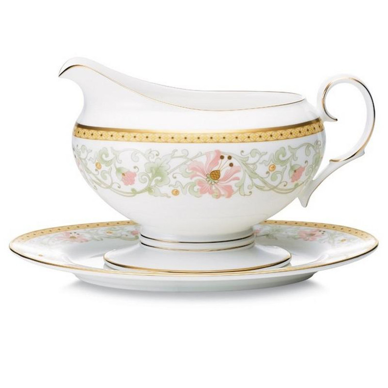 4892 416 Blooming Splendor 16 Ounces Gravy With Tray By Noritake