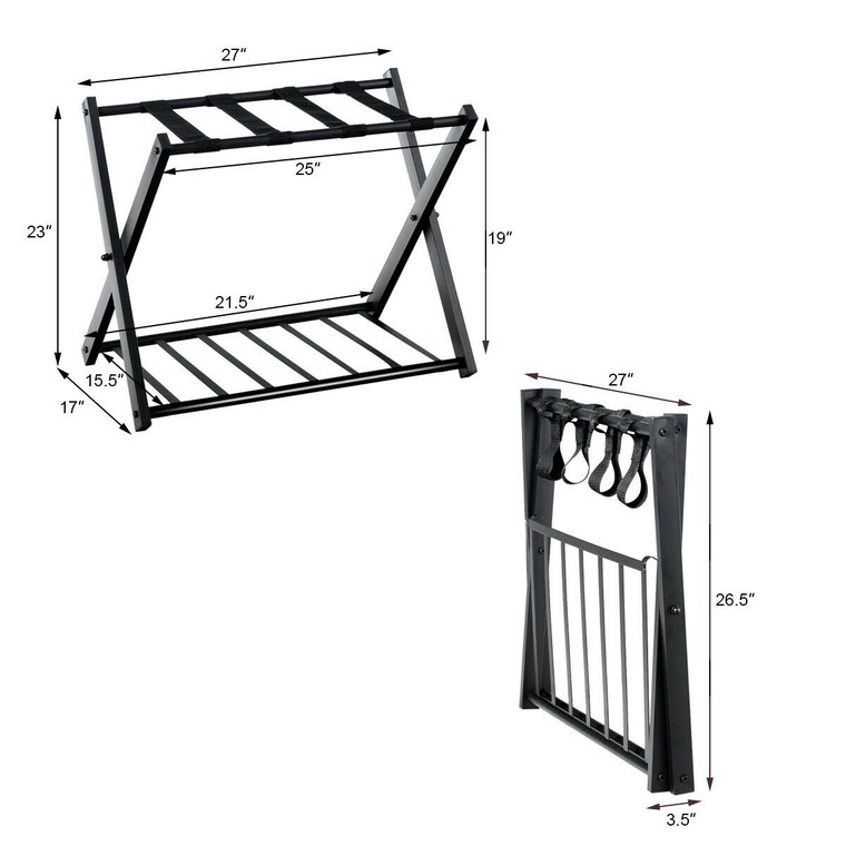 Set Of 2 Folding Metal Luggage Rack Suitcase With Shelf Hw61694 2 By Cw