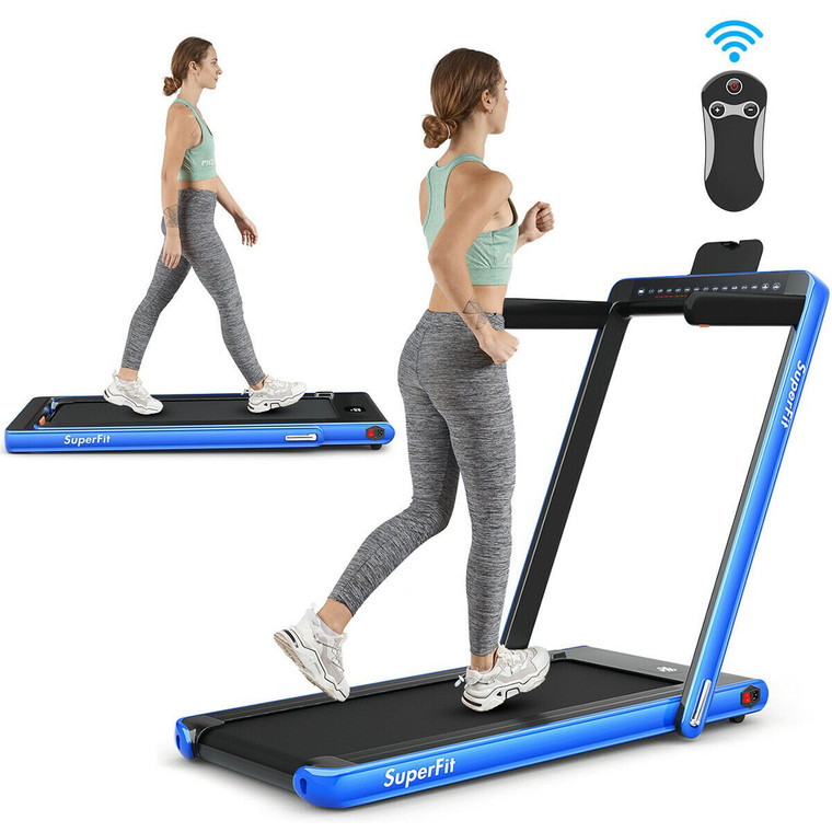 2 In 1 Folding Treadmill Dual Display With Bluetooth Speaker-Blue SP37148NY