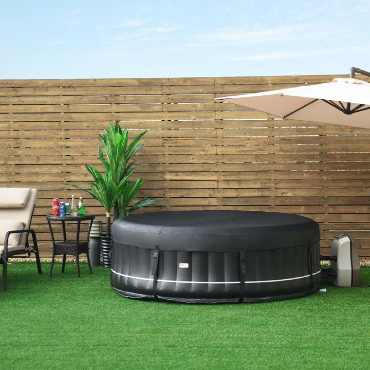 4-Person Portable Outdoor Inflatable Massage Spa Hot Tub-Black OP3656BK