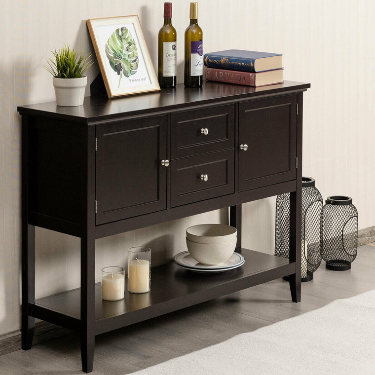 Wooden Sideboard Buffet Console Table-Brown HW64005CF