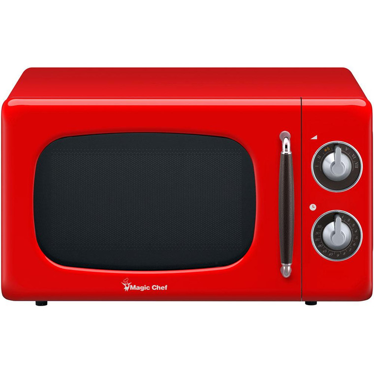 Magic Chef 0.7 Cu Ft Retro Microwave Oven Countertop Mcd770Cr
