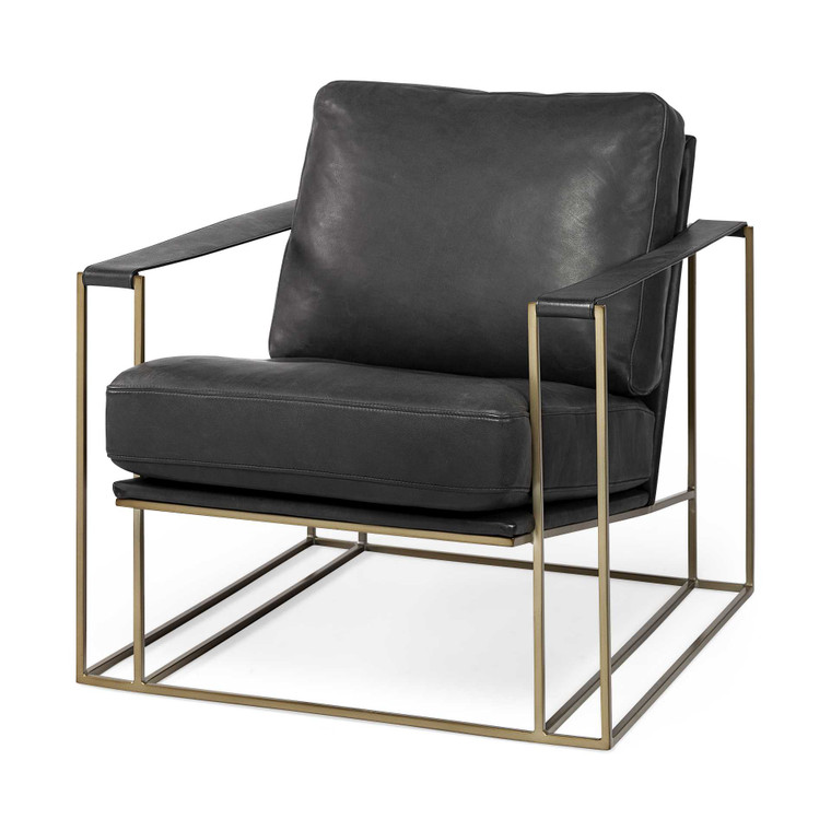 Homeroots Black Leather Wrap Gold Accent Chair With Metal Frame 380392
