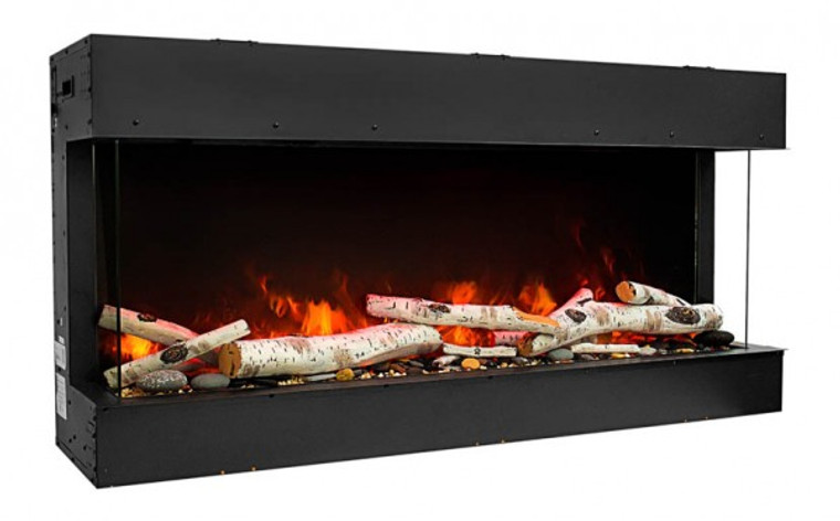 """72"""" Unit – 10 5/8"""" In Depth 3 Sided Glass Fireplace 72-TRV-slim By Amantii"""