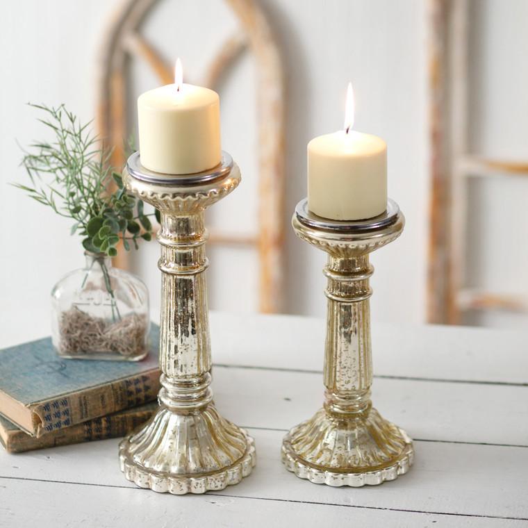 CTW Home Set Of 2 - Mercury Glass Pillar Candle Holders 370561