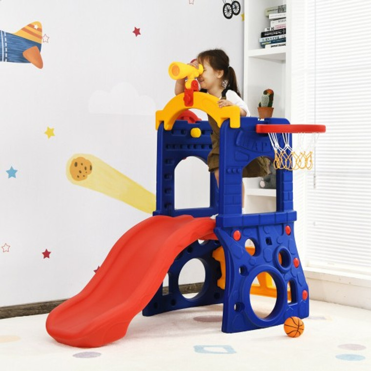 6-In-1 Freestanding Kids Slide With Basketball Hoop Play Climber TY327816+