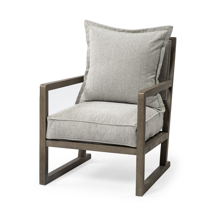 Homeroots Wooden Accent Chair With Ash Gray Cushions 392011