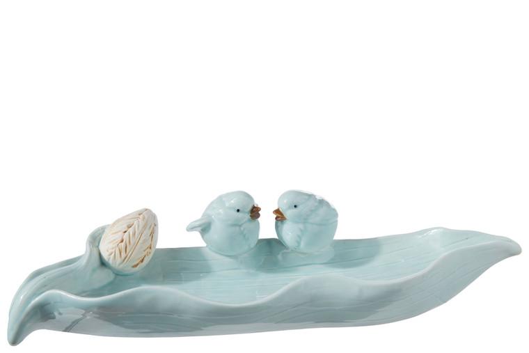 Urban Trends Ceramic Bird Feeder Figurine With Sitting Twin Birds Design Gloss Finish Baby Blue (Pack Of 4) 18903