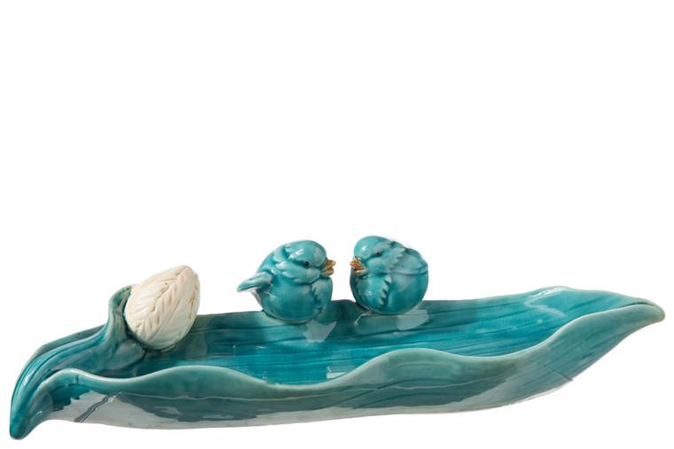 Urban Trends Ceramic Bird Feeder Figurine With Sitting Twin Birds Design Gloss Finish Blue (Pack Of 4) 18905