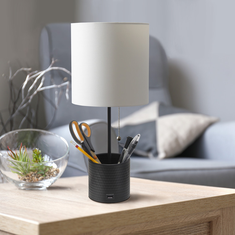 Simple Designs Hammered Metal Organizer Table Lamp With Usb Charging Port And Fabric Shade, Black LT1085-BLK