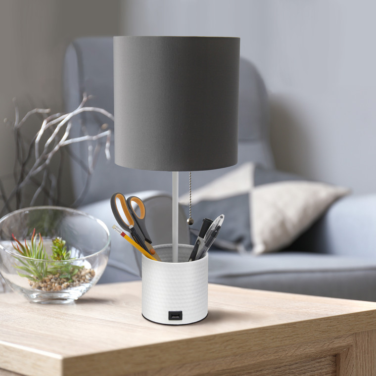 Simple Designs White Hammered Metal Organizer Table Lamp With Usb Charging Port And Fabric Shade, Gray LT1085-GOW