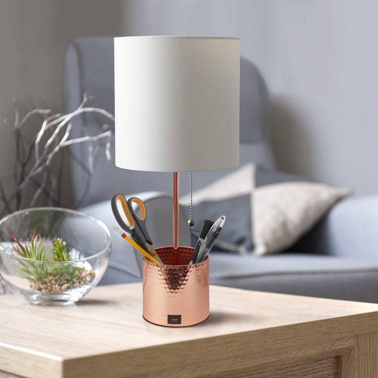 Simple Designs Hammered Metal Organizer Table Lamp With Usb Charging Port And Fabric Shade, Rose Gold LT1085-RGD