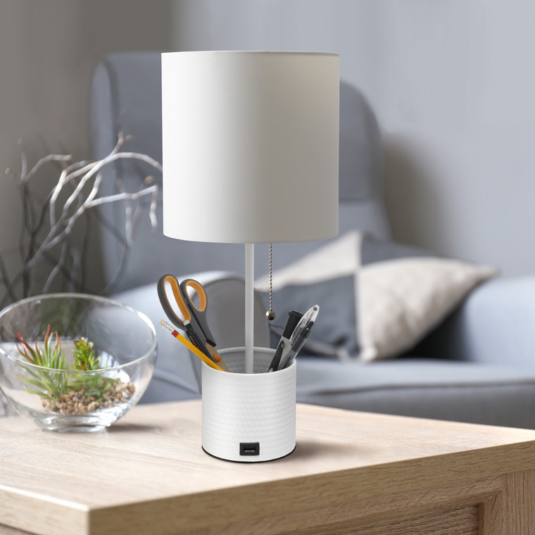 Simple Designs Hammered Metal Organizer Table Lamp With Usb Charging Port And Fabric Shade, White LT1085-WHT