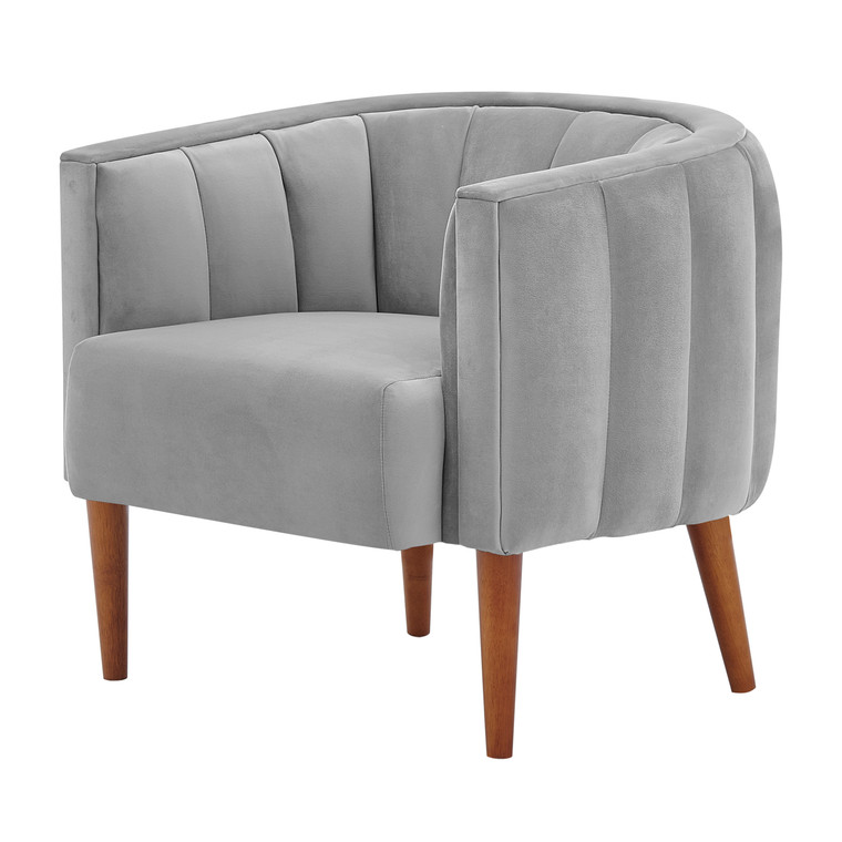 Cruz Velvet Fabric Accent Arm Chair Wooden Legs 1900177-566 By New Pacific Direct