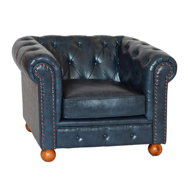 Armen Living Winston Chesterfield Blue Bonded Leather Sofa Chair - LC10601ATBL