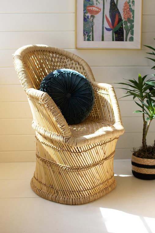 Bamboo Arm Chair With Natural Rope Detail NZR1015 By Kalalou