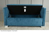 Elissa Ottoman Storage Box Seat. Photo displaying teal chenille fabric Available in a vast range of fabrics including  Crush Velvet, Chenille, Linen or Faux Suede Fabrics