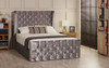 Oxford Ottoman Gas Lift Wing Bed - Headboard Height 130cm - Silver Crush Velvet - Diamante Buttons