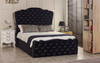 Rochelle Gas Lift Ottoman Bed Black Crush Velvet Diamante Buttons