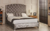 Omsk upholstered bed frame shown in ice crush velvet fabric with diamante button and chrome  feet. The Esupasaver Bed Company Quality Beds Made in England