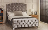 Samara upholstered bed frame shown in ice crush velvet fabric with diamante button and chrome  feet. The Esupasaver Bed Company Quality Beds Made in England