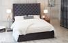 Quebec Ottoman Wing Bed Charcoal Soft Velvet