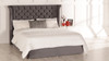 Sienna Gas Lift Ottoman Wing Bed Charcoal Smooth Velvet Diamante Buttons