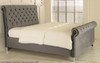 Chloe Gas Lift Ottoman Sleigh Bed Charcoal Smooth Velvet Diamante Buttons