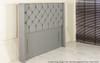 Chelsea Winged Chesterfield Upholstered Floor Standing Headboard  Grey Tweed Fabric