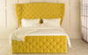 Empress Gas Lift Ottoman Wing  Bed Sunshine Gold Smooth Velvet Diamante Buttons