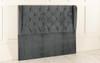 Esrum Winged Chesterfield Upholstered Floor Standing Headboard  Charcoal Smooth Velvet