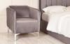 Brooklyn Tub Chair Charcoal Smooth Velvet Chrome Metal Feet