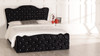 Louis Gas Lift Ottoman Bed Black Crush Velvet Diamante Buttons
