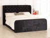 Adelmo Gas Lift Ottoman Wing Bed Black Crush Velvet Diamante Buttons