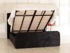 Adelmo Gas Lift Ottoman Wing Bed Black Crush Velvet Diamante Buttons
