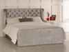 Adelmo Gas Lift Ottoman Wing Bed Silver Crush Velvet Diamante Buttons