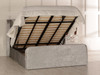 Adelmo Gas Lift Ottoman Wing Bed Silver Crush Velvet Diamante Buttons