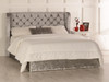 Destiny Gas Lift Ottoman Wing Bed Silver Crush Velvet Diamante Buttons