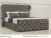 Florentine Gas Lift Ottoman Wing Bed Charcoal Smooth Velvet Diamante Buttons