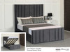 Cora Ottoman Winged Bed Charcoal Smooth Velvet
