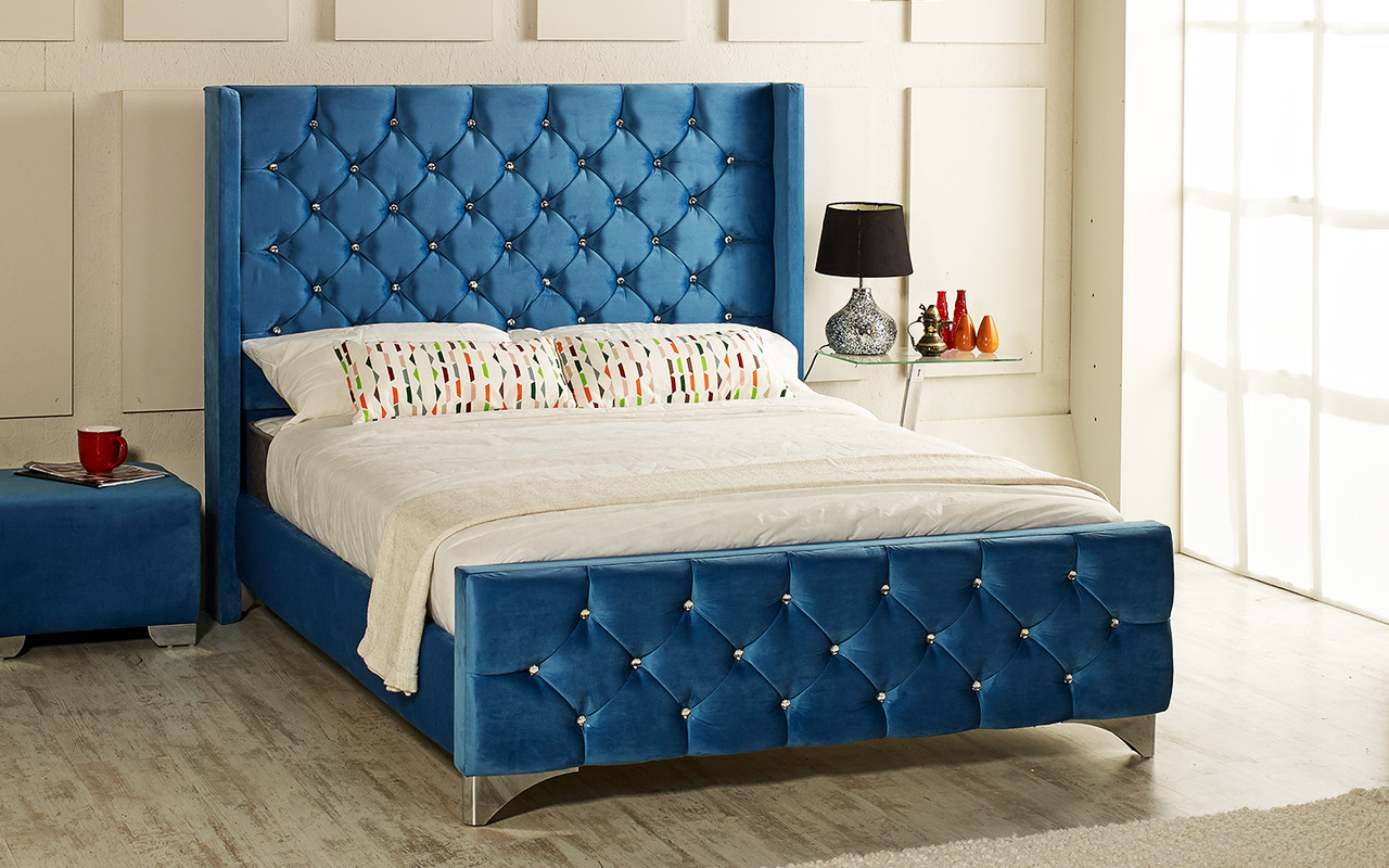 136d07bf8a Ferrara upholstered bed shown in soft velvet fabric, chrome feet, and  diamante buttons.