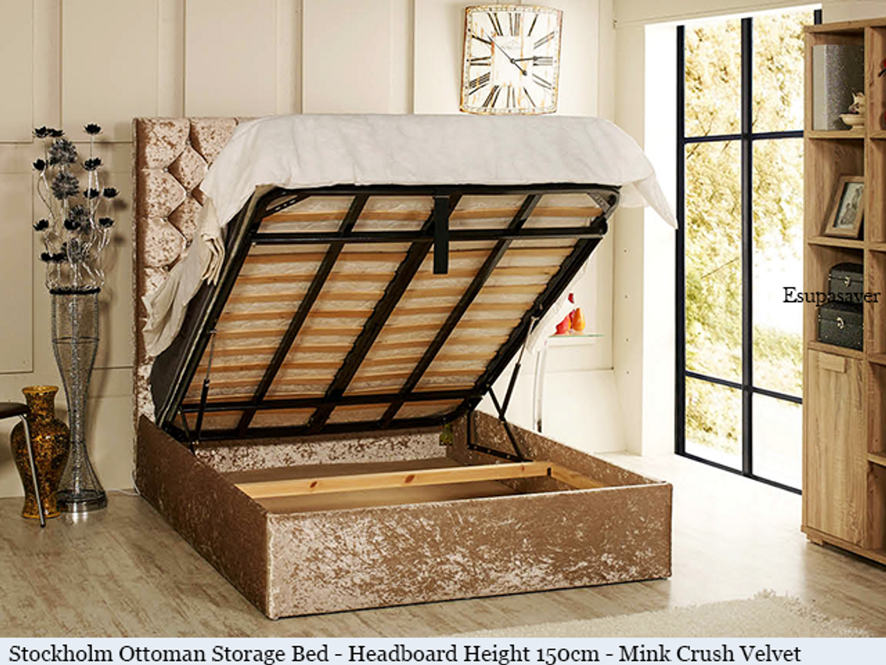 Stockholm gas lift ottoman bed shown in mink crush velvet fabric with diamante buttons