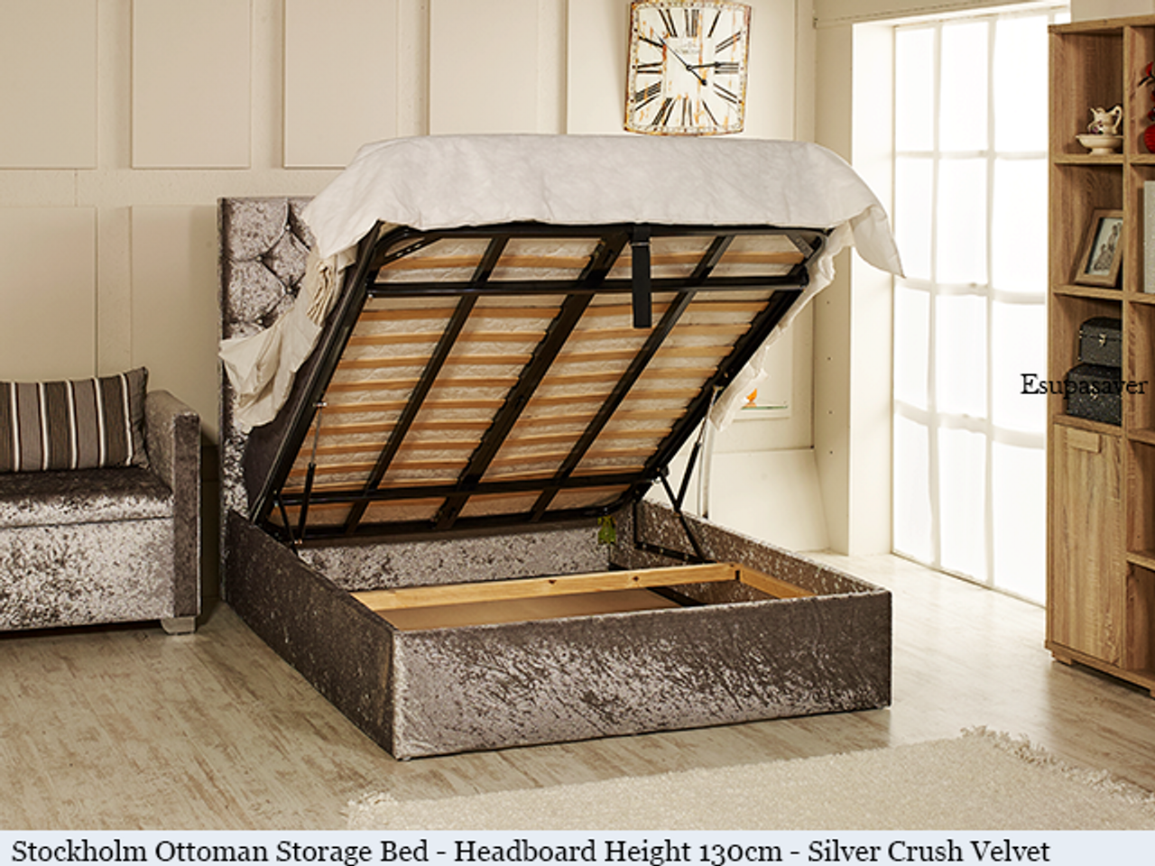 Stockholm gas lift ottoman bed shown in silver crush velvet fabric with diamante buttons