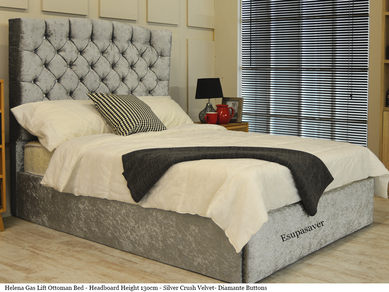 Helena Winged Gas Lift Ottoman Storage Bed Frame Available In Crush