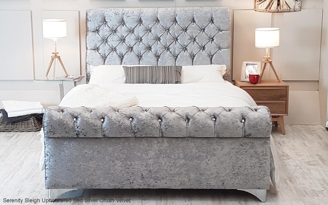 Serenity Sleigh Upholstered Bed Frame Available In Crush Velvet Chenille Linen Or Faux Suede Fabrics Esupasaver