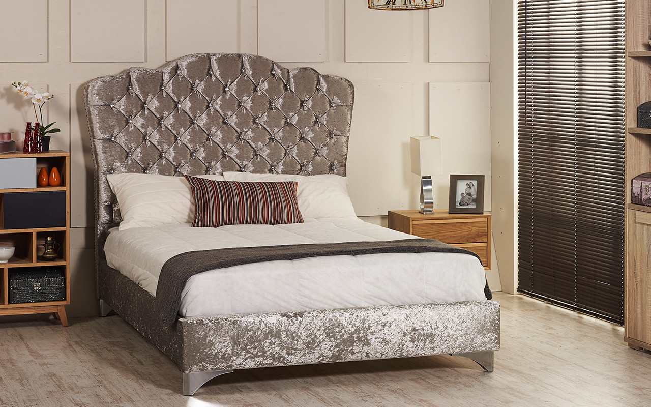 Esupasaver Stirling upholstered bed frame silver crush velvet